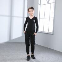 黑色带兜裤口罗纹舞蹈练功裤儿童舞蹈服男女