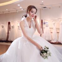秋季新款韩版挂脖式包肩式一字肩新娘婚礼齐地婚纱结婚礼服女 乳白色
