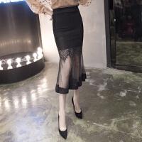 半身裙女秋季中长款新款韩版高腰网纱拼接包臀裙蕾丝鱼尾裙 黑色