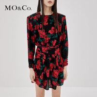 MOCO秋季新品圆领玫瑰花垫肩法式连衣裙MA183DRS103 摩安珂