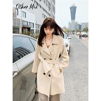 七格格羊毛大衣女2019秋冬新款中长款呢子外套宽松韩版洋气双面呢