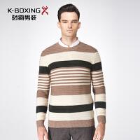 劲霸男装冬季男士商务拼色套头针织衫圆领羊毛衫青年毛衣FYYY4334
