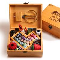 家用实木针线盒套装婚庆结婚陪嫁用品布艺缝纫针线剪刀缝纫线工具