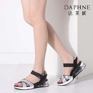 Daphne/达芙妮Vivifleurs夏季女鞋时尚运动风潮厚底增高女凉鞋-