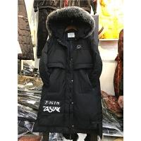 J2新款冬外套韩版大毛领棉衣女装中长款加厚连帽过膝学生1.25
