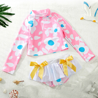 儿童泳衣女孩女童中小童分体裤裙游泳衣宝宝婴幼儿可爱泳装 粉红两件套 吊牌S(建议体重20-25斤以内)