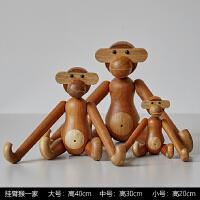 北欧丹麦木偶摆件ins木质长臂猴玩偶客厅家居装饰挂件时尚创意