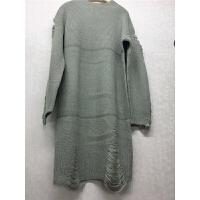 C5毛衣女秋冬中长款半高领破洞宽松打底衫韩版长袖针织衫