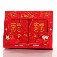 结婚回礼毛巾礼盒装大红色毛巾婚庆回礼毛巾一对喜字比棉好TD 75x35cm