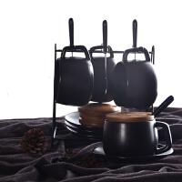 黑磨砂咖啡杯带盖带勺欧式下午茶茶具套装家用简约办公室陶瓷杯 4杯4碟4勺4盖子 配原黑桃木盖子4