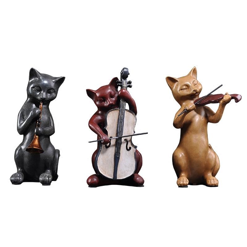 音乐猫摆件创意树脂家居饰品客厅招财摆设结婚礼品