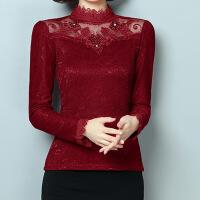 2017蕾丝打底衫秋季新款女装上衣长袖小衫修身高领蕾丝衫