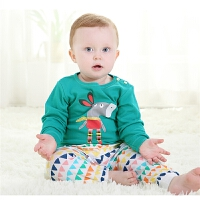 春秋新款婴儿纯棉内衣套装岁男女宝宝卡通长袖睡衣两件套