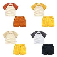 男童夏装短裤子套装婴儿短袖t恤1岁3个月5宝宝衣服
