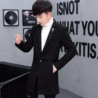 秋冬季风衣男士修身中长款呢子呢子外套韩版帅气毛呢大衣新款 黑色 M