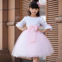 儿童礼服女童公主裙童装蓬蓬裙 花童礼服女长袖婚纱裙演出服夏 粉红色