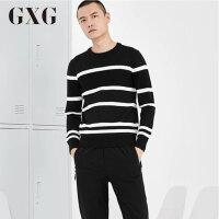 【GXG过年不打烊】GXG男装 冬季男士修身时尚休闲黑色针织衫毛衫男#64220306