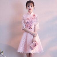 粉色伴娘礼服女2018新款韩版短款中式姐妹裙生日派对小礼服裙学生 浅粉色