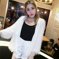 秋冬新款韩版甜美气质亮片毛毛九分袖开衫时尚百搭短款外套女 均码