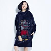 秋冬韩版双面绒加厚加绒大码宽松显瘦连帽中长款金丝绒卫衣女外套