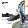 【低价秒杀】jm快乐玛丽秋季新款纯色平底套脚厚底乐福鞋增高女鞋子