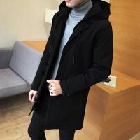 秋冬风衣男中长款加厚外套夹克棉衣呢子大衣 黑色