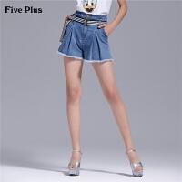 Five Plus2019新款女夏装迪士尼唐老鸭牛仔短裤女配腰带阔腿裤子