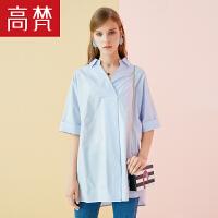 【1件3折 到手价:39元】高梵春夏女装新款韩版时尚纯棉bf学生女衬衫中长袖宽松上衣