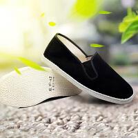 春夏新款传统手工千层底布鞋男黑色老北京舒适布底布透气全棉布鞋 黑色