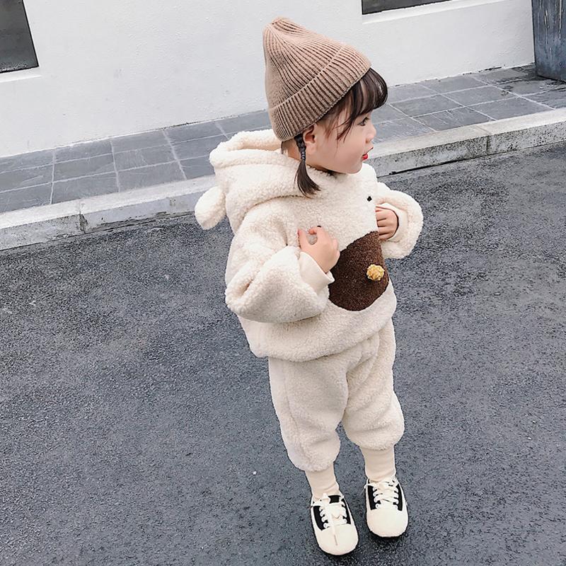 女宝宝秋冬套装加绒儿童洋气保暖衣服冬装两件套