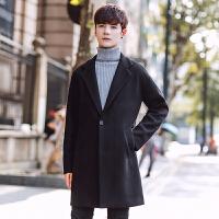 秋冬韩版修身毛呢大衣学生潮流帅气风衣外套青年纯色中长款外套男 黑色 M