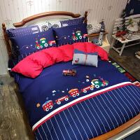家纺儿童四件套纯棉 男孩全棉绣花4件套床上用品1.2米床三件套高低床 叮叮车