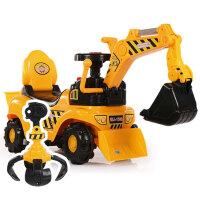 新款儿童电动挖掘机男孩玩具车挖土机可坐可骑大号学步脚踏工程车