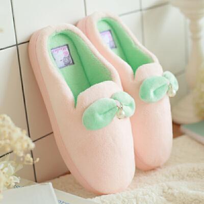 棉拖鞋女冬季男情侣包跟居家居室内防滑月子保暖可爱毛毛拖鞋冬天 珍珠点缀 室内居家棉拖 时尚可爱
