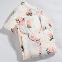 强烈推荐月子服夏全棉纱布产后哺乳服长袖长裤孕妇睡衣套装 X