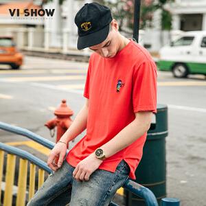 VIISHOW夏季新品圆领套头短袖T恤男纯棉刺绣男士短袖休闲欧美潮