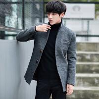 毛呢风衣男中长款韩版修身青年帅气潮流秋冬披风大衣男士呢子外套