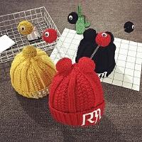 儿童毛线帽冬季加绒护耳帽保暖宝宝帽子男女童可爱韩版潮针织套头