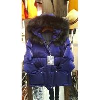 M4欧洲站冬季女装新款韩版时尚连帽大毛领亮面羽绒棉衣