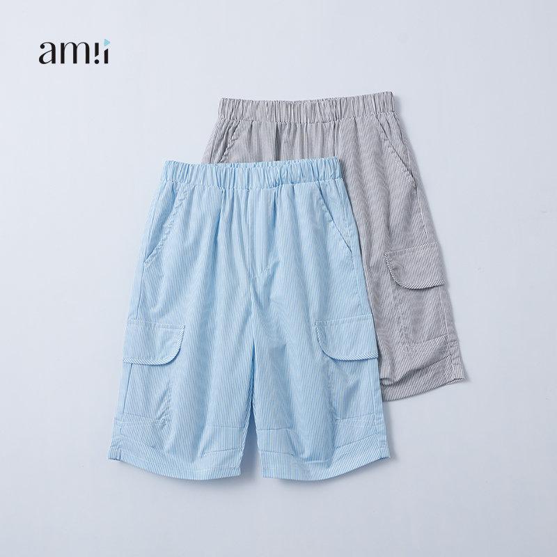 AMII2017年夏季新款休闲短裤双侧插袋细条纹男童裤装大童儿童裤#