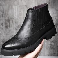 冬季加绒布洛克雕花男靴英伦风复古马丁靴韩版休闲内增高工装短靴