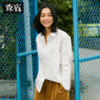 森宿文艺学院风宽松衬衣冬装新款长袖棉衬衫女中长款