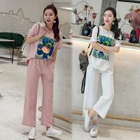 运动套装女夏时尚2018新款韩版宽松短袖阔腿九分裤学生休闲两件套