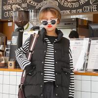 新款秋冬女装韩版可爱宽松保暖BF风宽松加厚立领棉衣马甲外套学生 黑色 均码
