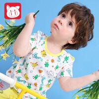 小猪班纳童装宝宝短袖t恤2018夏装新款男童卡通上衣儿童体恤衫