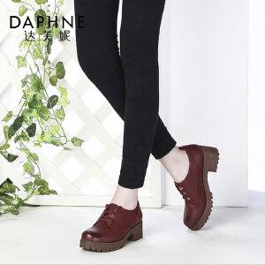 Daphne/达芙妮复古英伦学院风圆头系带粗中跟深口单鞋