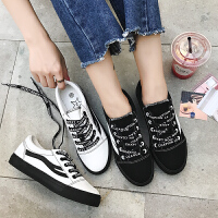 匡王2017秋季新款女鞋学生帆布鞋系带板鞋休闲鞋女鞋平底板鞋