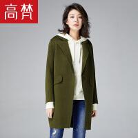 【跨店2件5折到手价:599元】高梵韩版修身双面呢大衣女 新款立体绣花个性中长款羊毛大衣