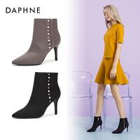 Daphne/达芙妮冬欧美复古女靴尖头切尔西靴细跟高跟靴女