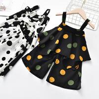 女童夏季套装时髦吊带儿童阔腿裤两件套